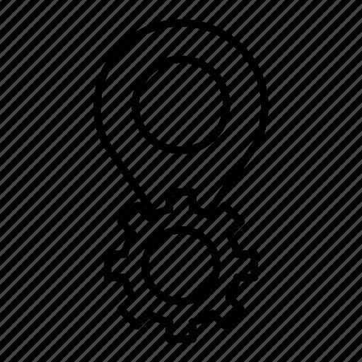 gear, location, pin, pointer, seo icon