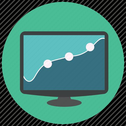 analytics, graph, monitor, screen, statistics icon