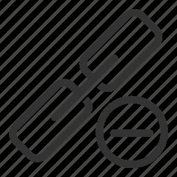 chain, delete, link, minus, remove, seo, unlink icon