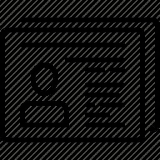 cv, id, online profile icon