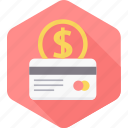 card, dollar, ecommerce, finance, money, payment, shopping icon