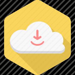 cloud, computing, database, download, file, server, storage icon