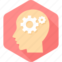 brain, configuration, gear, human, options, preferences, settings icon