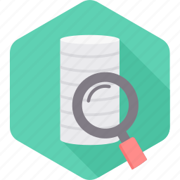 data, database, magnifier, magnifying, search, server, storage icon