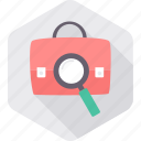 business, magnifying, portfolio, priefcase, search icon