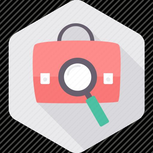 business, magnifying, portfolio, priefcase, search icon
