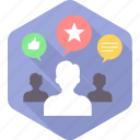 comment, like, people, rating, social, user, users icon