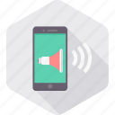 mobile, phone, smartphone, sound, speaker, support, volume icon