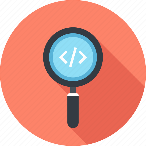 application, coding, magnifier, optimization, program, search, software icon