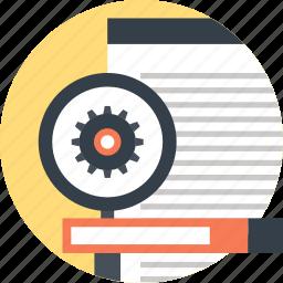 cogwheel, explore, magnifier, optimization, search, seo, web icon