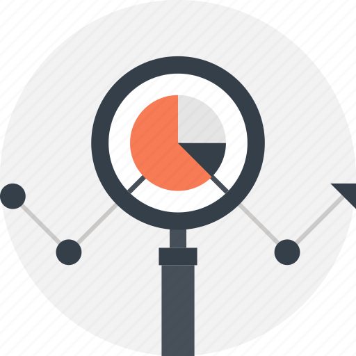 analysis, chart, data, finance, magnifier, search, seo icon