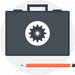 briefcase, content, data, management, optimization, portfolio, settings icon