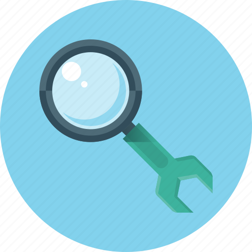 configuration, magnifying, optimization, search, seo, settings, wrench icon
