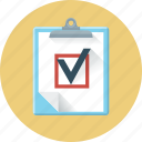 check, check mark, checklist, checkmark, form, planchette, questionnaire icon