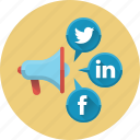 advertising, media, mouthpiece, network, social, social media, social networks icon