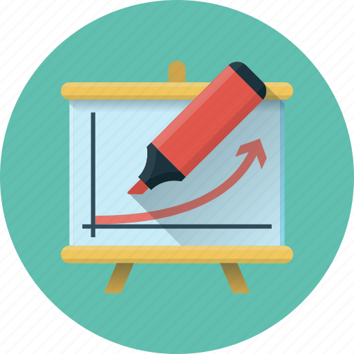 chart, courses, diagram, flipchart, presentation, report, training icon