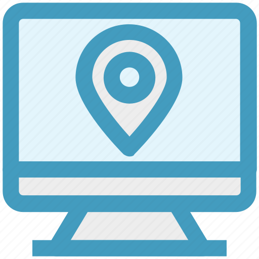 gps, lcd, location, map pin, monitor, seo, site icon