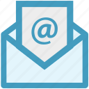 at sign, email, envelope, letter, message, opened, seo