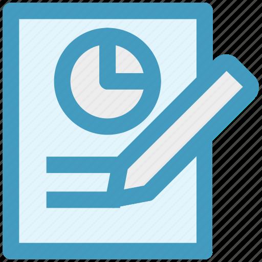 chart, marketing, page, paper, pencil, report, seo icon
