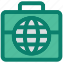bag, business, globe, luggage, marketing, seo, world icon