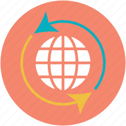 globe reload, internet, logotype, rotation arrows, webelement icon