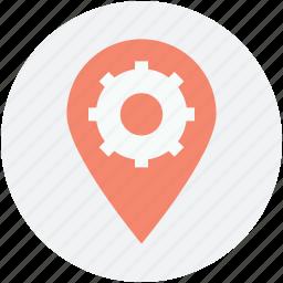 factory, gearwheel, logotype, map pin, mechanic icon