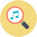 magnifier, magnifying glass, music search, music sign, musical note icon