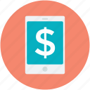 dollar sign, mobile banking, mobile communication, mobile screen, online banking icon
