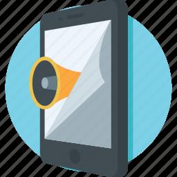 advert, bullhorn, media, megaphone, mobile media icon
