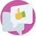 chat, comments, feedback, like, thumbs up icon