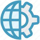 gear, globe, internet, marketing, seo, setting, world icon