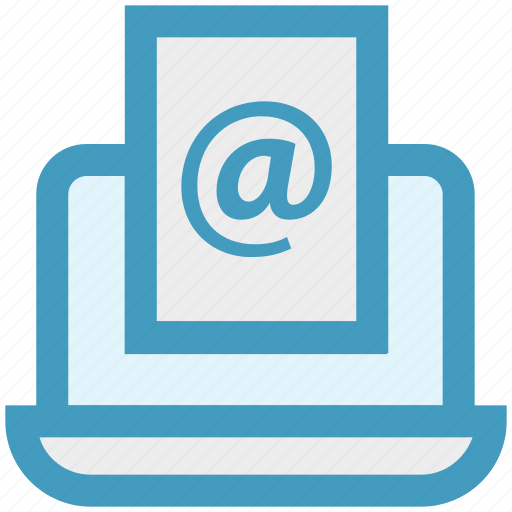 at sign, browsing, email, internet, laptop, online, seo icon