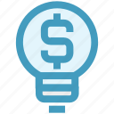 bulb, business, creativity, dollar, idea, light, money