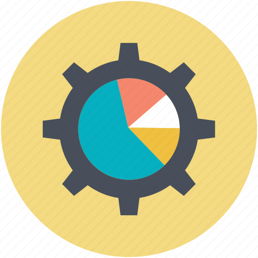 business chart, business element, gearwheel, marketing, pie chart icon