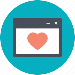 cyberspace, favorite webpage, heart sign, internet, website icon
