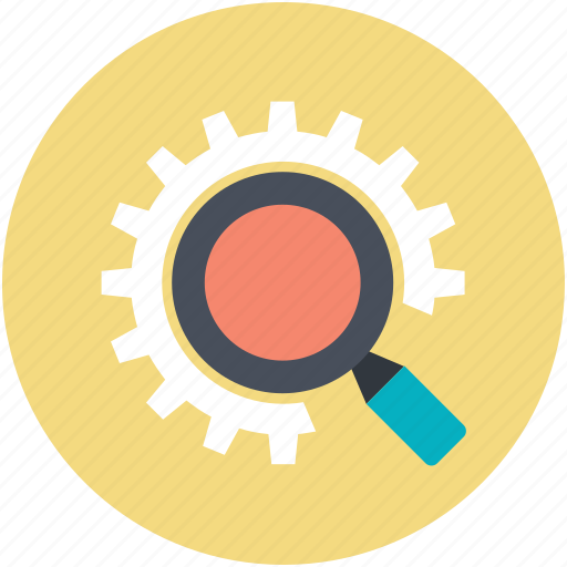 gearwheel, investigation, magnifier, mechanism, teamwork icon