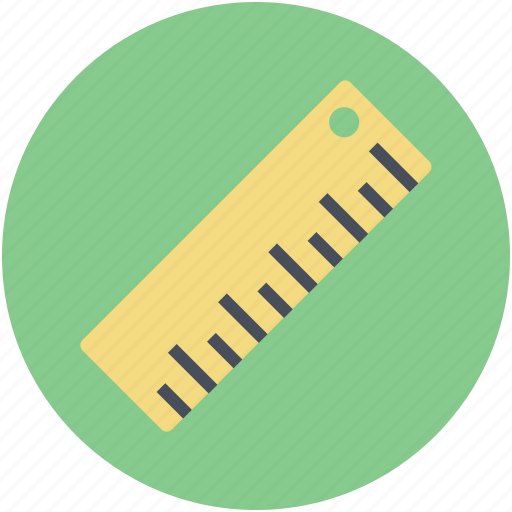 geometry, inches, office supplies, ruler, school supplies icon
