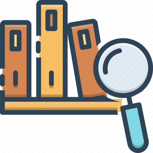 case, case study, learning, magnifier, perusal, study icon