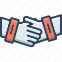 collaboration, complicity, copartnership, handshake, partnership, teamwork icon