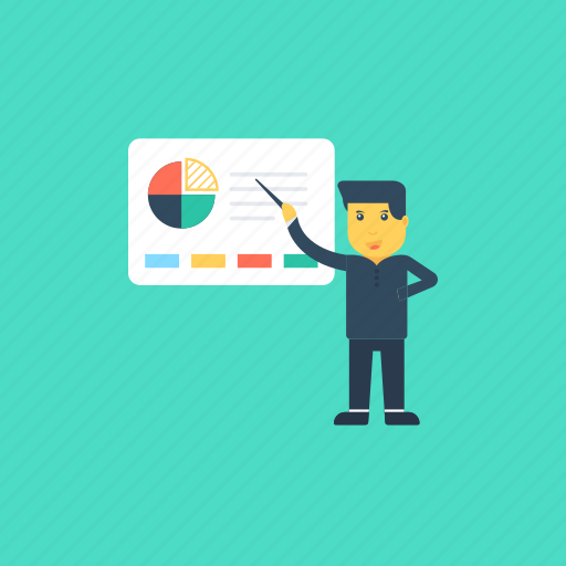 business analyst, data analyst, finance analyst, presentation, strategic planning icon