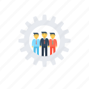 creative ideas, human resources, team abilities, team management, team skills icon