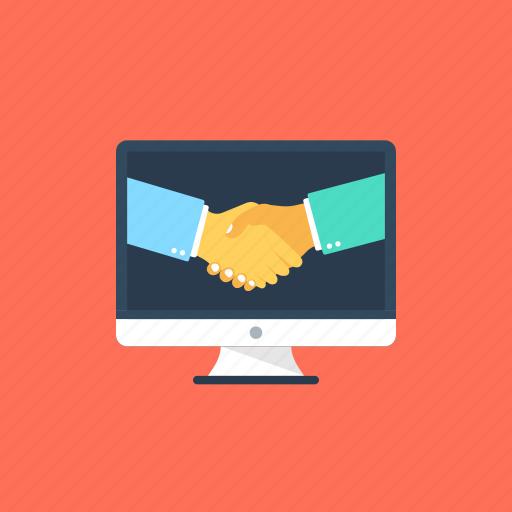 digital collaboration, handshake, online agreement, online partnership, partnership marketing icon