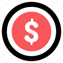business, coin, dollar icon, finance, monetization, money icon