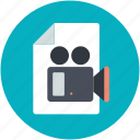 page, video camera, video file, video recording, webelement icon