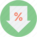 discount, down arrow, loan, percent symbol, sale icon