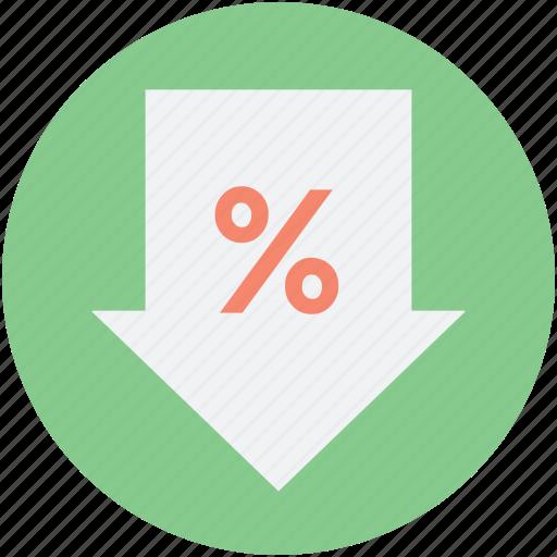 discount, down arrow, loan, percent symbol, sale icon