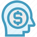 business mind, businessman, dollar, dollar sign, head, marketing, mind icon