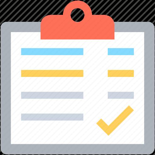 agenda, article, checkmark, clipboard, memo icon