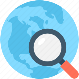 earth, globe, location, magnifying glass, search location icon