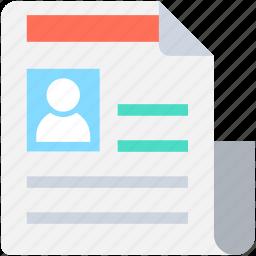 application form, biodata, curriculum vitae, cv, resume icon